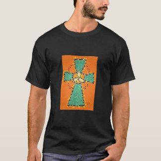 T-shirt Pièce en t de base en verre souillé de croix