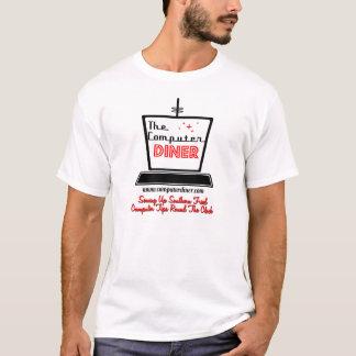 T-shirt Pièce en t de blanc de logo de wagon-restaurant