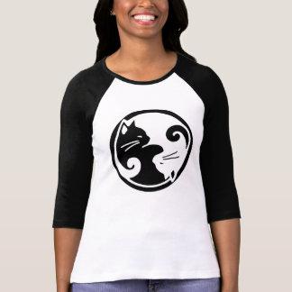 T-shirt Pièce en t de douille raglane de chats de Yin Yang