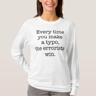 T-shirt Pièce en t drôle de typo de police de grammaire