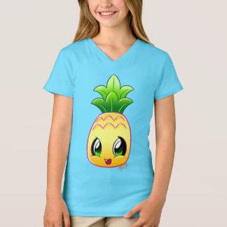T-shirt Pièce en t du V-cou de la fille tirée par la main