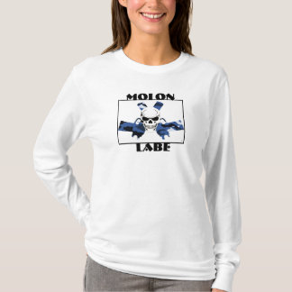 T-shirt Pièce en t Molon Labe Skull&Gun de douille de