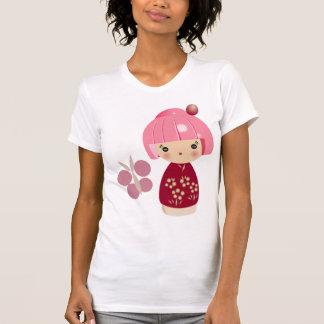 T-shirt Pièce en t rose de triplet de Kokeshi
