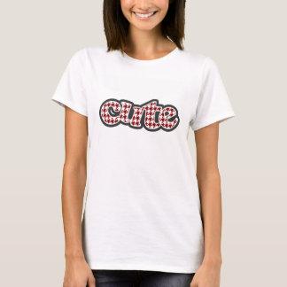 T-shirt Pied-de-poule rouge foncé