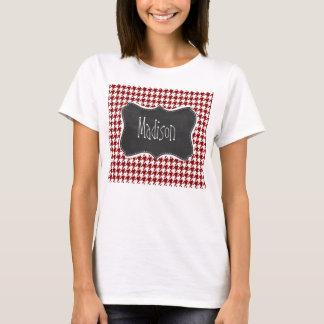 T-shirt Pied-de-poule rouge foncé ; Tableau vintage