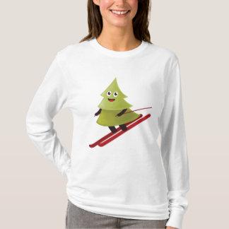 T-shirt Pin heureux d'hiver sur le ski