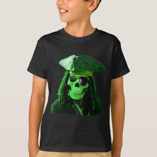 T-shirt Pirate vert au néon avec skully et correction
