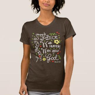 T-shirt Pitié d'amour de justice de recherche de 6:8 de
