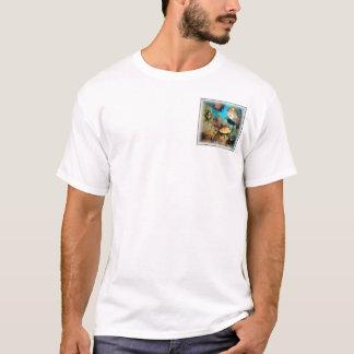 T-shirt Poche de corail de carré de bleu