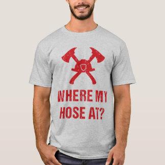 T-shirt Pompier à où mon tuyau ? Drôle