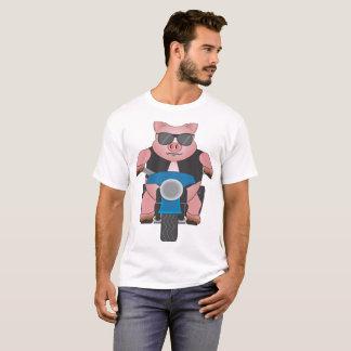 T-shirt Porcin sur une moto : avant et dos