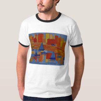 T-shirt Port peignant le cubisme coloré lumineux