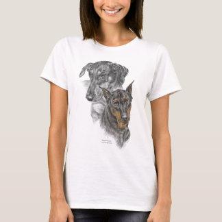 T-shirt Portrait de deux dobermann