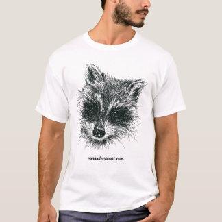 T-shirt Portrait de raton laveur en à l'encre noire