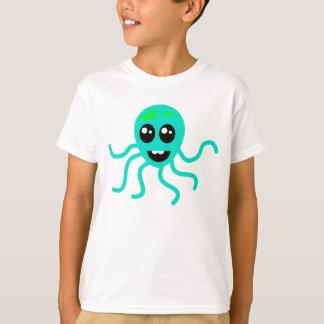 T-shirt Poulpe vert de bande dessinée avec des tentacules