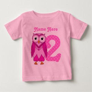 T-shirt Pour Bébé 2ème Coutume de hibou d'anniversaire