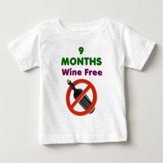 T-shirt Pour Bébé 9 mois de vin libèrent, maman enceinte, cadeau de