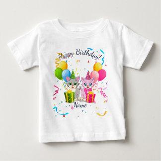 T-shirt Pour Bébé Anniversaire bandes dessinées roses et grises de