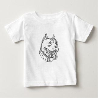 T-shirt Pour Bébé Art de griffonnage de tête de pitbull