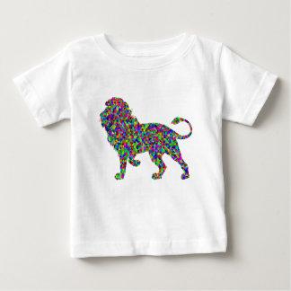 T-shirt Pour Bébé Art prismatique de lion coloré par arc-en-ciel