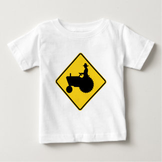 T-shirt Pour Bébé Avertissement de panneau routier de tracteur