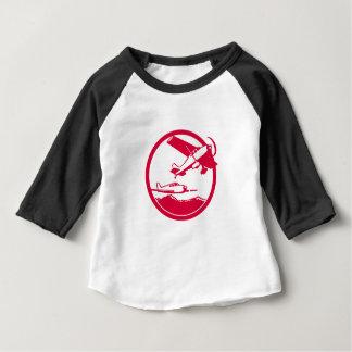 T-shirt Pour Bébé Avions de voilure fixe enlevant le cercle rétro