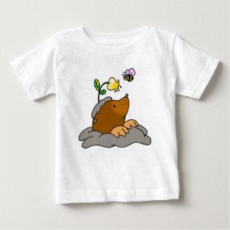 T-shirt Pour Bébé bande dessinée mignonne de taupe avec une abeille