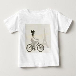 T-shirt Pour Bébé Bicyclette de fille à Paris, Tour Eiffel de