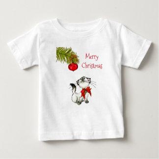 T-shirt Pour Bébé Chat curieux de Kitty dans un arc rouge de Noël
