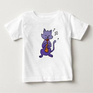 T-shirt Pour Bébé Chat de bande dessinée jouant la cannelure