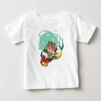 T-shirt Pour Bébé Chat de sirène avec la guirlande de Noël