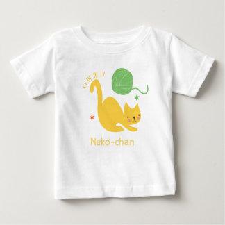 T-shirt Pour Bébé Chat jaune mignon de Kawaii Kitty. Ajoutez le nom