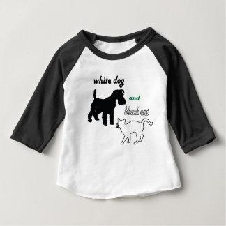 T-shirt Pour Bébé Chien blanc et chat noir