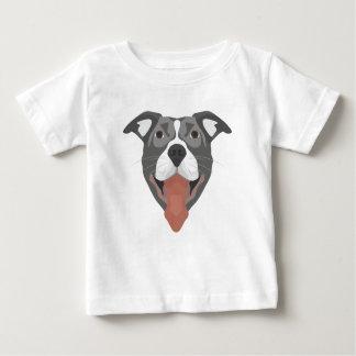 T-shirt Pour Bébé Chien Pitbull de sourire d'illustration