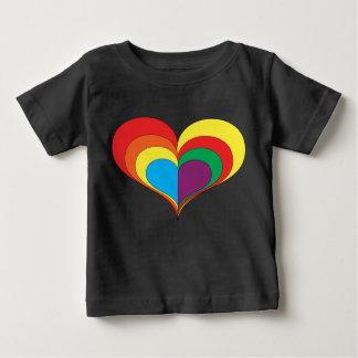 T-shirt Pour Bébé Coeur d'arc-en-ciel