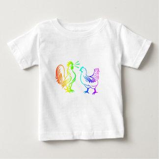 T-shirt Pour Bébé Coq #3 d'arc-en-ciel