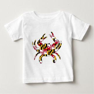 T-shirt Pour Bébé Crabe onduleux de drapeau du Maryland