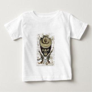 T-shirt Pour Bébé crâne de cowboy de singe avec les armes à feu