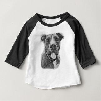 T-shirt Pour Bébé Dessin d'art d'animal de chien de pitbull