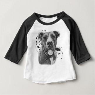 T-shirt Pour Bébé Dessin de l'art animal de chien de Pitbull sur la