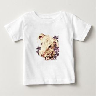 T-shirt Pour Bébé Dessin de Pitbull blanc avec des lis