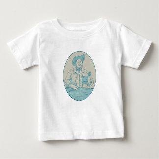 T-shirt Pour Bébé Dessin ovale de Tankard de buveur de bière de
