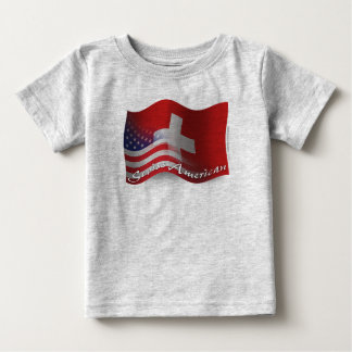 T-shirt Pour Bébé Drapeau de ondulation Suisse-Américain