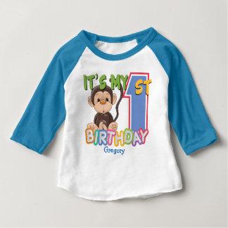 T-shirt Pour Bébé Ęr anniversaire de singe mignon