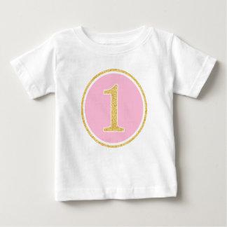 T-shirt Pour Bébé Ęr anniversaire d'or de Faux de cercle rose de