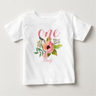 T-shirt Pour Bébé ęr Aquarelle Personalized-2 floral d'anniversaire