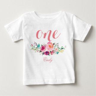 T-shirt Pour Bébé ęr Aquarelle Personalized-8 floral d'anniversaire
