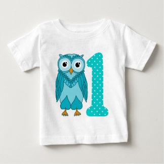 T-shirt Pour Bébé ęr Chemise d'anniversaire : Bleu de hibou