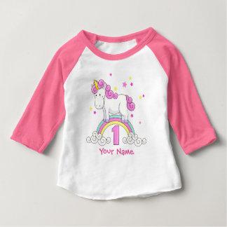 T-shirt Pour Bébé Fête d'anniversaire d'arc-en-ciel de licorne ?ère