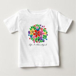 T-shirt Pour Bébé Fleurs d'arc-en-ciel d'aquarelle